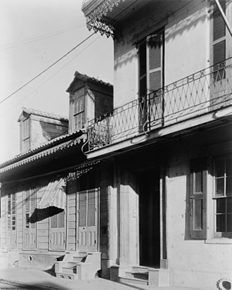 "Frances Benjamin Johnston - ""Arcady, where all the leaves are merry"" Frances Benjamin Johnston's house, 1132 Bourbon Street, New Orleans, Louisiana"