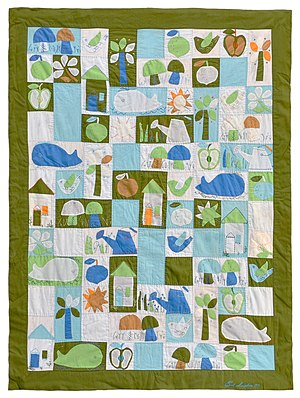 "Quilt art - ""Child's Quilt"" - a Jean Ray Laury design. Made by Carol Simpelaar, NY, 1970, cottons, dimensions: 37"" x 47"". Collection of Bill Volckening, Portland, Oregon."