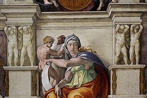 'Delphic Sibyl Sistine Chapel ceiling' by Michelangelo JBU38.jpg