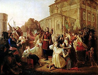 Kuzma Minin - Minin's appeal to the people of Nizhny Novgorod. Painting by Mikhail Peskov, 1861