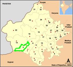 Vị trí của Huyện Jalore