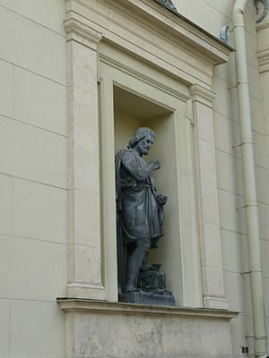 Onatas - Statue of Onatas on the facade of the New Hermitage Building in St Petersburg, Russia