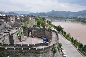 Linhai - The city wall of Linhai, next to the Ling River