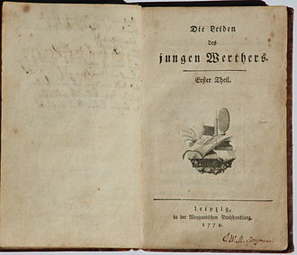 First edition of The Sorrows of Young Werther -1- Die Leiden des jungen Werthers. Erstdruck.jpg