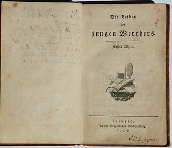 The Sorrows of Young Werther, title page of the first print