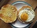 -2019-09-03 Fried egg on toasted muffin, Cromer.JPG
