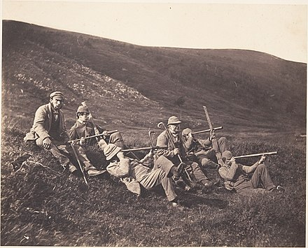 Deer stalkers on Glenfeshie Estate spying with monoculars, ca. 1858 -Spying in Glenfeshie- MET DP148525.jpg