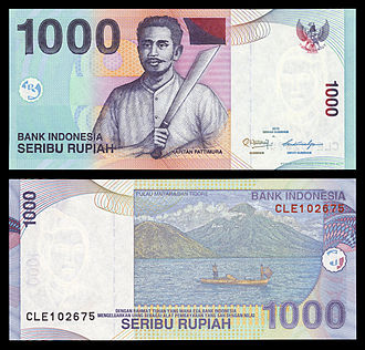 Indonesian rupiah - Rupiah banknotes usually feature Indonesian National Heroes. Here Pattimura (Thomas Matulessy) is featured in the old 1,000-rupiah banknote.