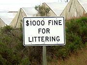 California posts the maximum fine on its ubiquitous signs