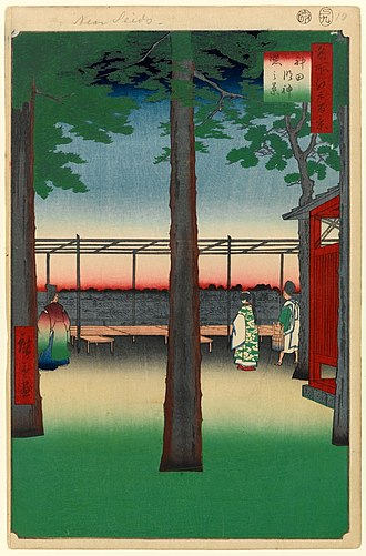 Bokashi (printing) - In this print, Hiroshige used bokashi in the foreground, at the horizon, in the sky, on the priest's robes, and in the square cartouche