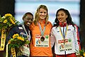 100m women podium Zurich 2014.jpg