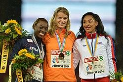 100m women podium Zurich 2014.jpg