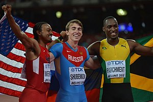 2015 World Championships in Athletics – Men's 110 metres hurdles - The medalists L-R: Merritt, Shubenkov, Parchment