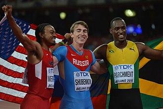 Sergey Shubenkov - Image: 110m h medalists Beijing 2015