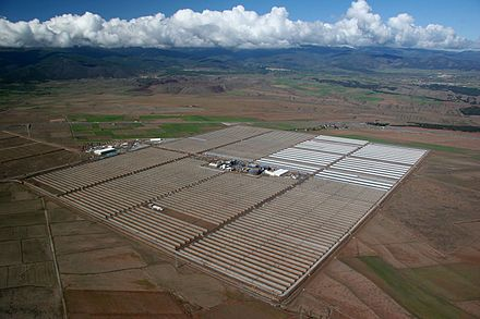 The 150 MW Andasol solar power station is a commercial parabolic trough solar thermal power plant, located in Spain. The Andasol plant uses tanks of molten salt to store solar energy so that it can continue generating electricity even when the sun isn't shining. 12-05-08 AS1.JPG