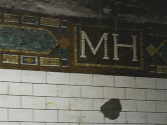 "138th Street–Grand Concourse (IRT Jerome Avenue Line) - The Mott Haven Avenue ""MH"" Mosaics"