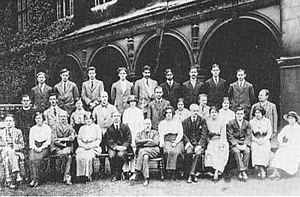 Cambridge University Moral Sciences Club - Members of the Moral Science Club, Cambridge, c. 1913. In the front row, third from left, is James Ward; to the right of him, Bertrand Russell; next to Russell is W. E. Johnson; in the second row, on the far right, is McTaggart; and third from the right, G. E. Moore