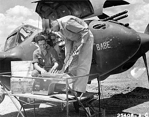 37th Flying Training Squadron - 14th Fighter Group P-38 being serviced in North Africa, 1943