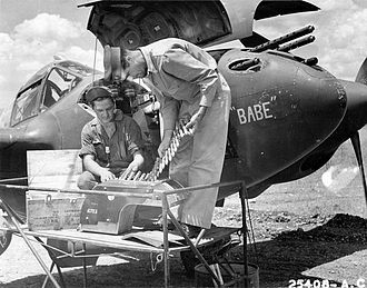 14th Operations Group - 14th Fighter Group P-38 being serviced in North Africa, 1943