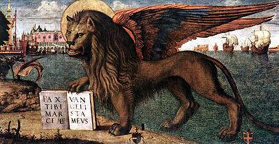 Das Wahr- und Hoheitszeichen der Serenissima über Jahrhunderte: Der Löwe von St. Markus (Ausschnitt aus einem Gemälde von Vittore Carpaccio, 1516)