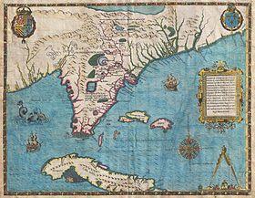 Situs Floridae et Cubae, anno 1565 depictus ab Iacobo le Moyne. Quae tabula, anno 1591 edita, prima dicitur Floridam monstravisse.
