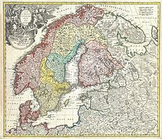 1730 Homann Map of Scandinavia, Norway, Sweden, Denmark, Finland and the Baltics - Geographicus - Scandinavia-homann-1730.jpg