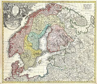 History of Sweden - Old map showing Sweden during the period of Great Power 1648–1721. The Homann Map of Scandinavia, Norway, Sweden, Denmark, Finland, Estonia and Livonia, from  1730, by Johann Baptist Homann (1664–1724)