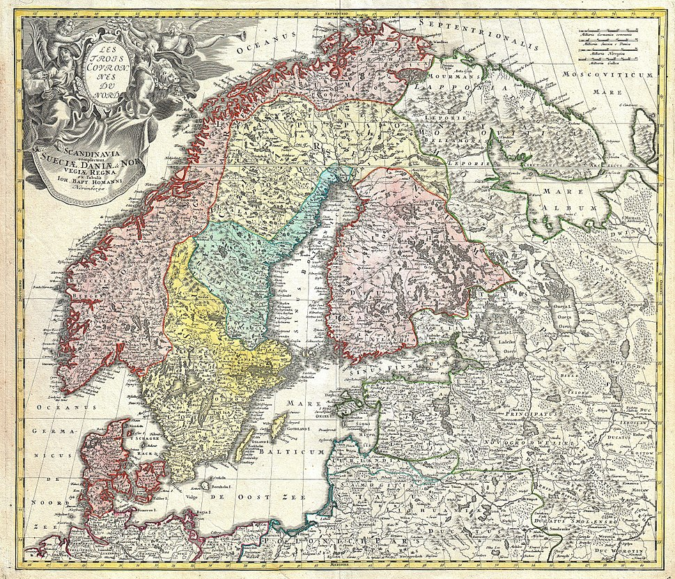 1730 Homann Map of Scandinavia, Norway, Sweden, Denmark, Finland and the Baltics - Geographicus - Scandinavia-homann-1730