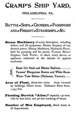 William Cramp & Sons - Image: 1899 William Cramp & Sons advertisement