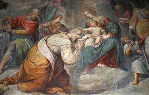 Guglielmo Caccia - Guglielmo Caccia, right-side nave Adoration of the Magi (detail), Sant'Alessandro in Zebedia, Milan