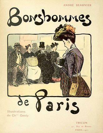 André Beaunier - Illustration by Charles Genty on the front cover of Beaunier's work  Bonshommes de Paris.