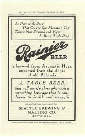 Rainier Brewing Company - 1907 Rainier Beer advertisement