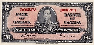 1937 Series (banknotes) - Image: 1937 2 bank of canada face