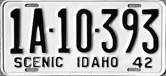 Vehicle registration plates of Idaho - Image: 1942 Idaho license plate