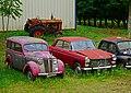 1951 Renault Juvaquatre and 1971 Peugeot 404 saloon, Saint-Cirq-Madelon, Lot, France (8481262673).jpg