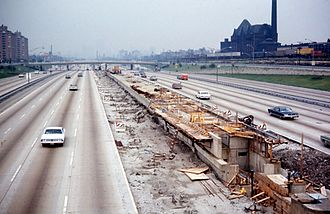 Sox–35th station - Sox–35th under construction in 1968.