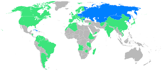 Friendship Games - Hosting nations shown in blue, other participants in green