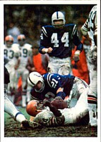 1971–72 NFL playoffs - The Colt defense stopping a Browns run during the AFC Divisional Playoffs Game