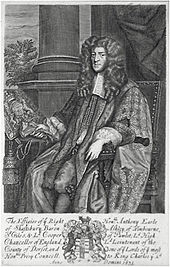 The Earl of Shaftesbury, the leader of the Whigs who introduced the  Exclusion Bill in the House of Commons on 15 May 1679.