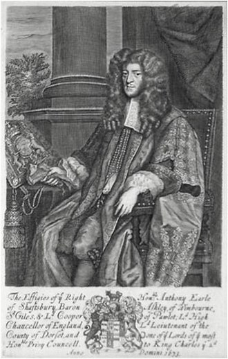 Exclusion Crisis - The Earl of Shaftesbury, the leader of the Whigs who introduced the Exclusion Bill in the House of Commons on 15 May 1679.