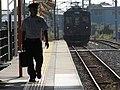 2007-08-26 JR- Yakujin Station,Kakogawa Line JNR103系改造車両 横尾忠則「走れ!Y字路」 8260244.JPG