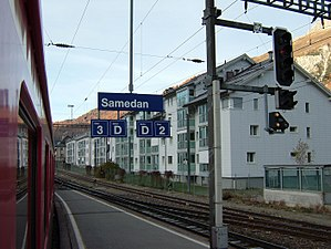 Samedan (Rhaetian Railway station) - Platforms 2 and 3, facing St. Moritz