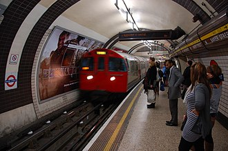 Baker Street tube station - A southbound Bakerloo line train arrives at Platform 8.