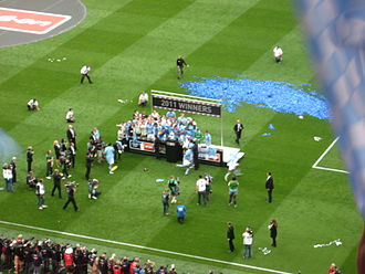 2011 FA Cup Final - The Manchester City team celebrating winning the FA Cup