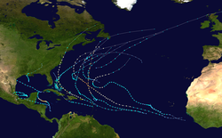 A map of the Atlantic Ocean depicting the tracks of 20 tropical cyclones.