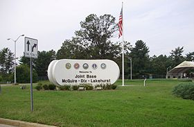 2012-08-24 Main entrance of the Lakehurst unit of Joint Base McGuire Dix Lakehurst in New Jersey.jpg
