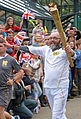 2012 torch relay day 37 Frank Chislett bears the Olympic torch in Winding Road, Halifax (7433164420).jpg