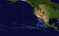 A map of the Pacific Ocean depicting the track of the 21 tropical cyclones that formed in 2013