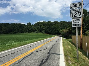 Maryland Route 129 - MD 129 southbound in Worthington