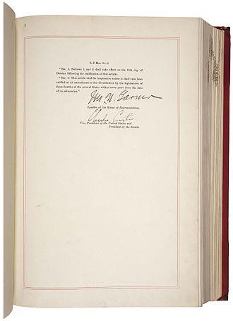 Twentieth Amendment to the United States Constitution - Image: 20th Amendment Pg 2of 2 AC